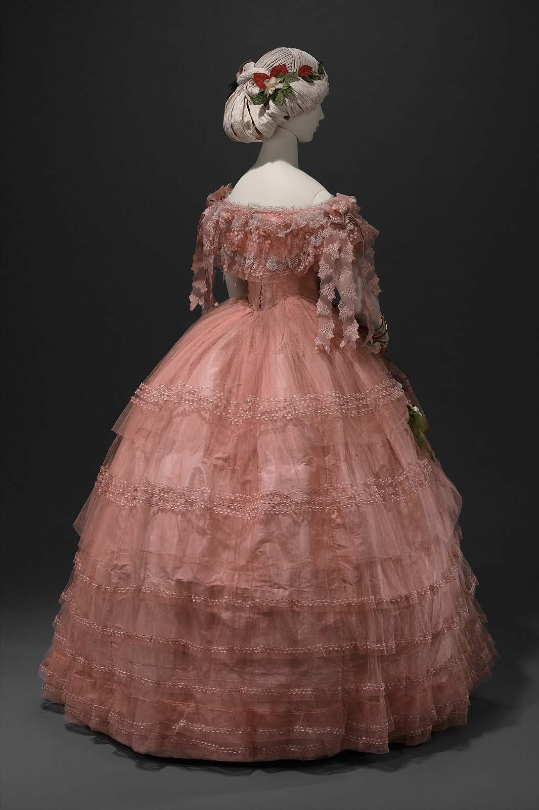 Pink Ball Gown Ca 1858 Costume Cocktail